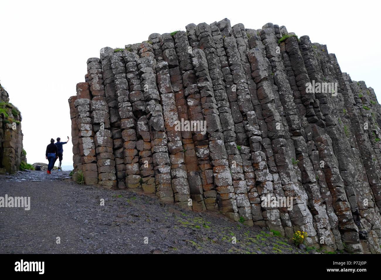 Giant's Causeway, UNESCO World Heritage Site, Bushmills, County Antrim, on the north coast of Northern Ireland, Ulster, Northern Ireland, UK - Stock Image