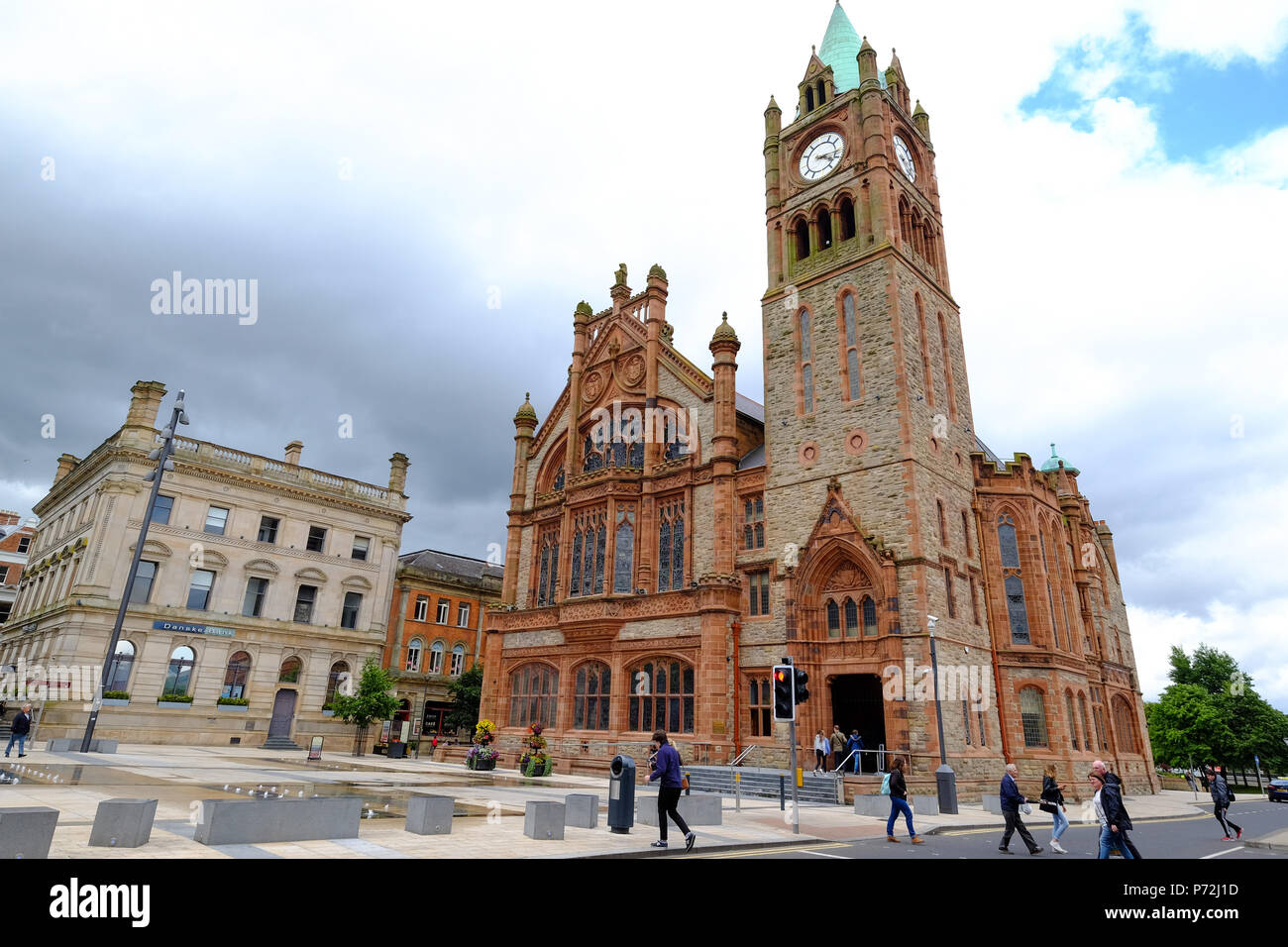 The Guildhall in Derry, County Londonderry, Ulster, Northern Ireland, United Kingdom, Europe - Stock Image