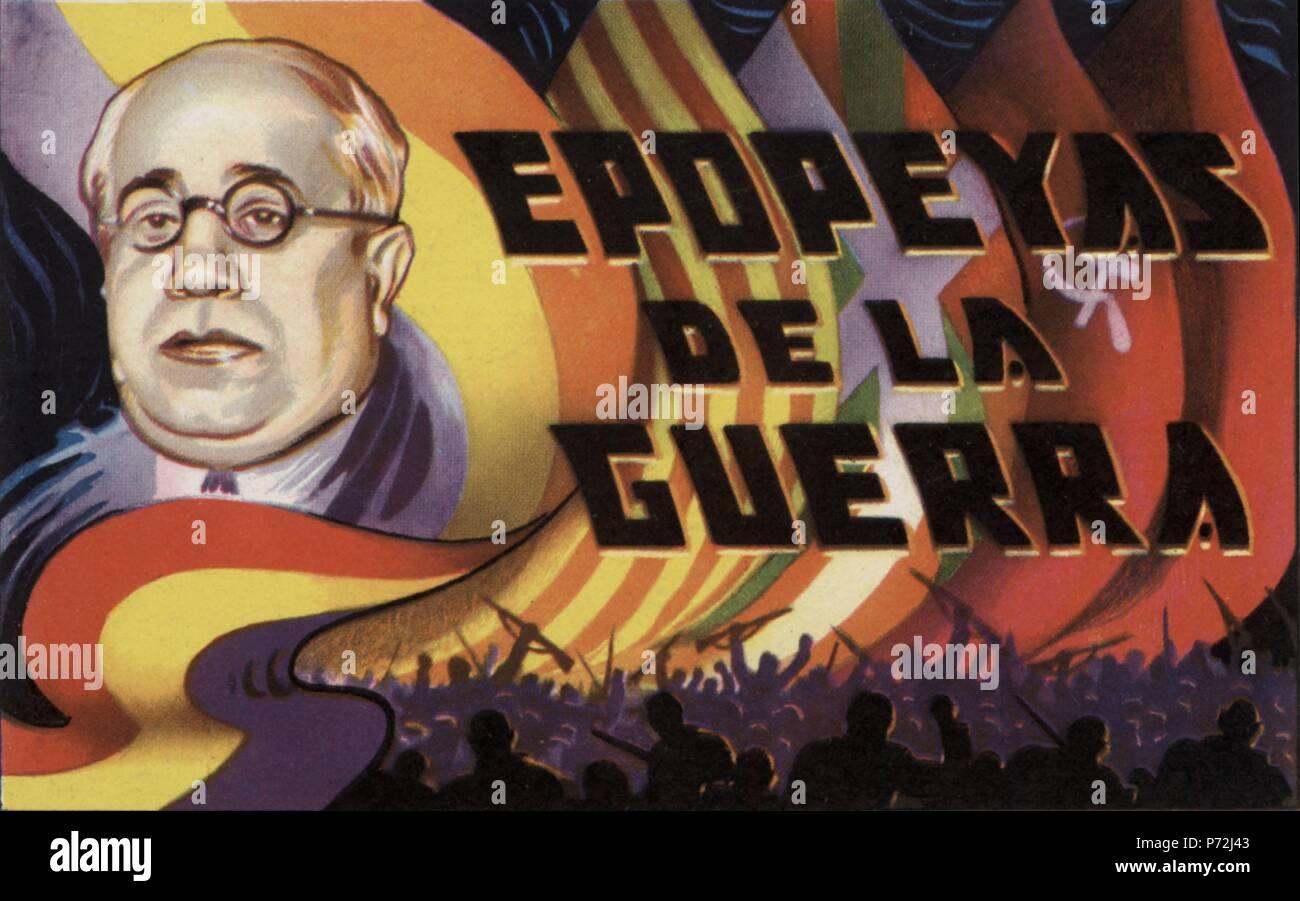 Epopeyas de la guerra civil española (1936-1939). Manuel Azaña Díaz (1880-1940), presidente de la república. Cromo editado por Almacenes Alemanes en Octubre de 1937. Stock Photo