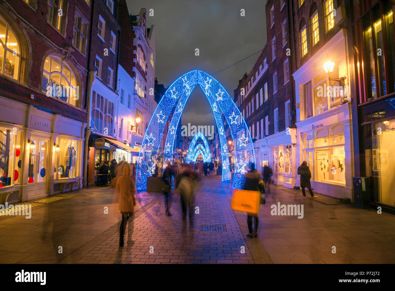 Christmas decorations, South Molton Street, off Oxford Street, West End, London, England, United Kingdom, Europe - Stock Image