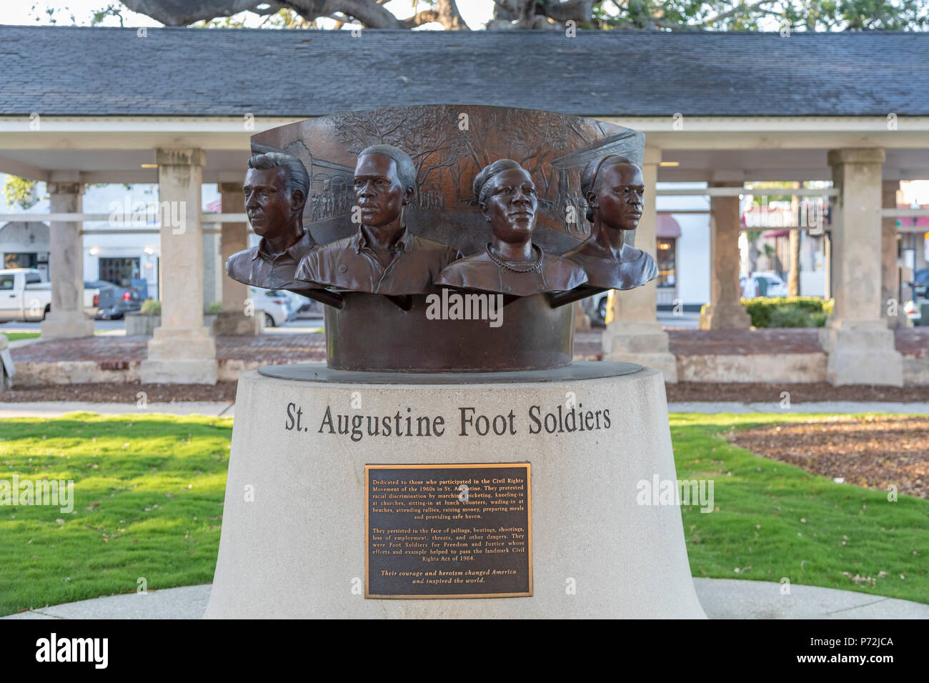 St. Augustine, Florida - A monument to those who participated in the civil rights movement of the 1960s in St. Augustine. Activists experienced arrest - Stock Image