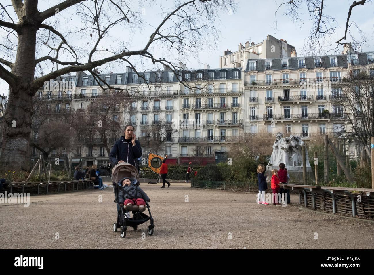 Place Montholon, Paris, 9th arrondissement - Stock Image