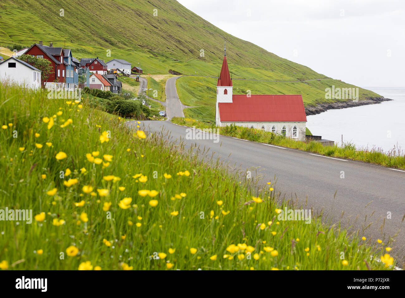 Traditional village of Husar, Kalsoy Island, Faroe Islands, Denmark, Europe - Stock Image