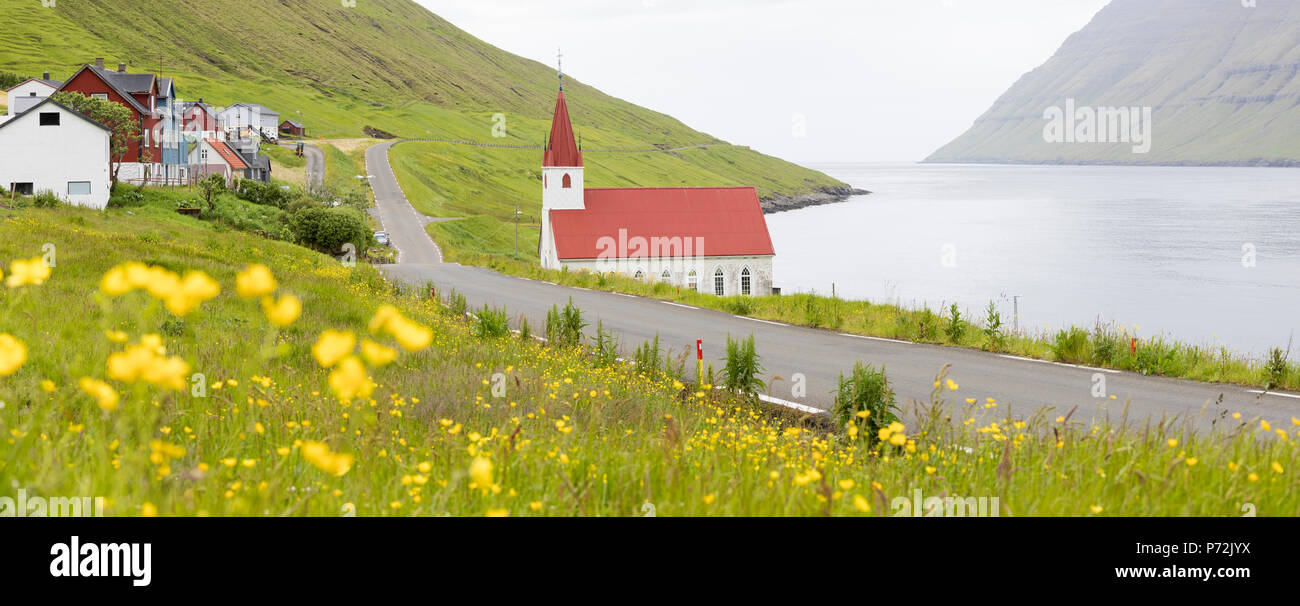 Panoramic of the traditional village of Husar, Kalsoy Island, Faroe Islands, Denmark, Europe - Stock Image