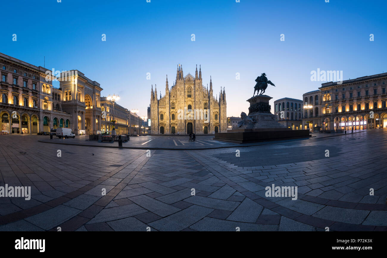 View of Milan Cathedral (Duomo), Galleria Vittorio Emanuele II and Palazzo Reale, Milan, Lombardy, Italy, Europe - Stock Image