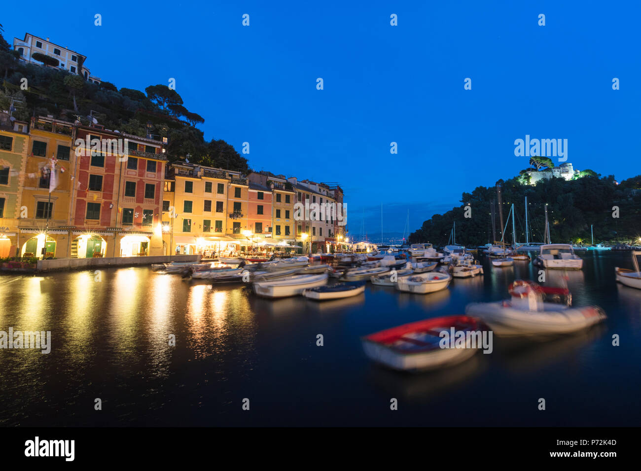 Harbour of Portofino at dusk, province of Genoa, Liguria, Italy, Europe - Stock Image