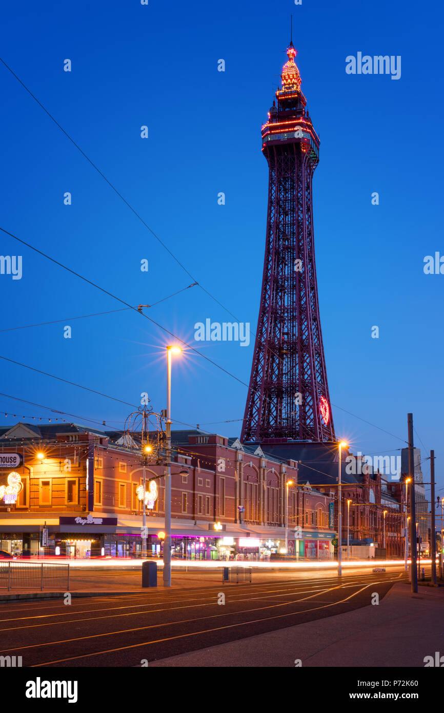 Blackpool Tower at night, Blackpool, Lancashire, England, United Kingdom, Europe - Stock Image