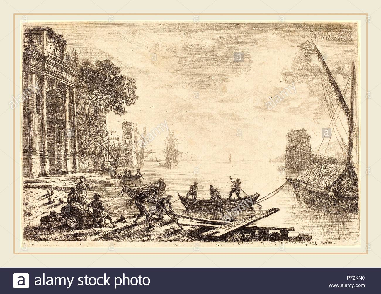 Claude Lorrain, French (1604-1605-1682), Harbor Scene with Rising Sun (Le soleil levant), 1634, etching. - Stock Image