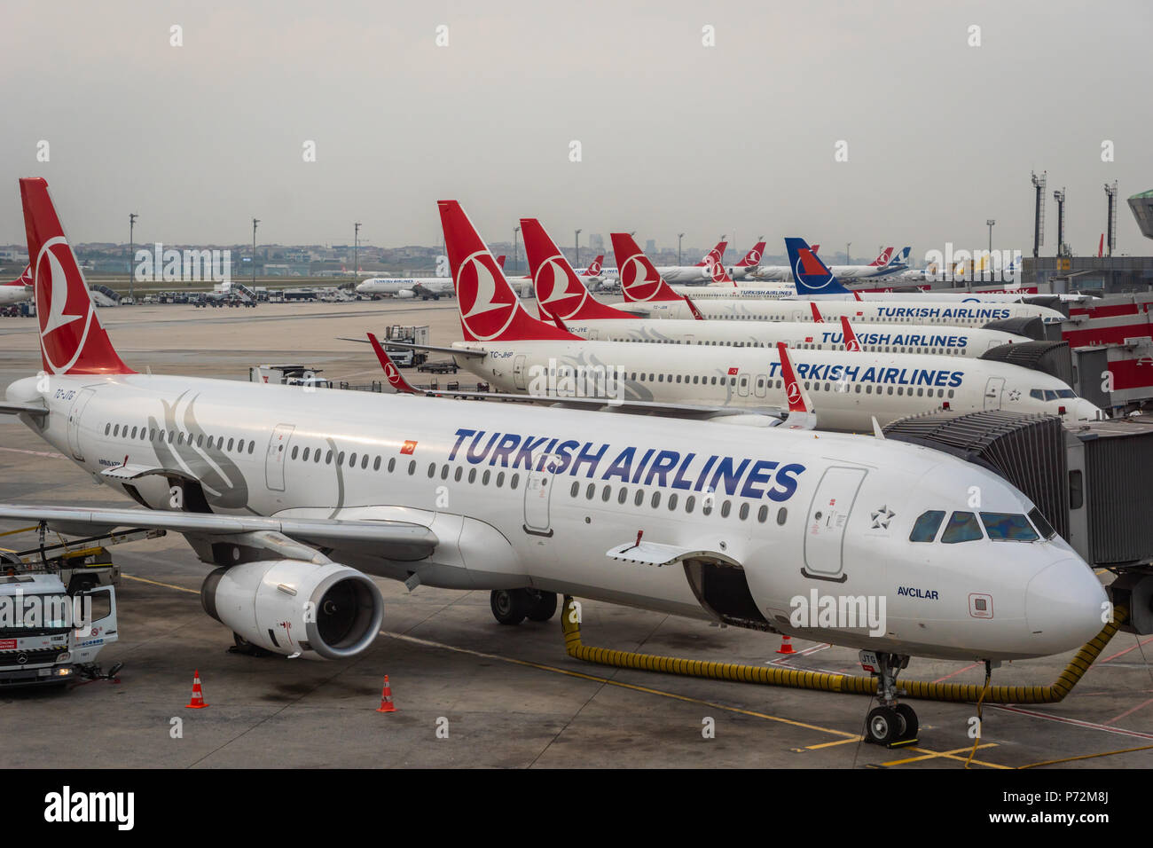 Istanbul, Turkey - June 2018: Turkish Airlines Aircraft on the runway of Istanbul Atatürk Airport. Turkish airlines is the national flag carrier airli - Stock Image