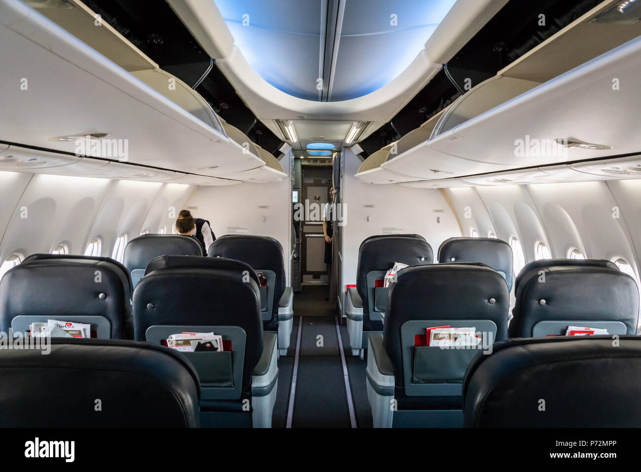 Istanbul, Turkey - June 2018: inside of Turkish airlines aircraft.   Turkish airlines is the national flag carrier airline of Turkey - Stock Image