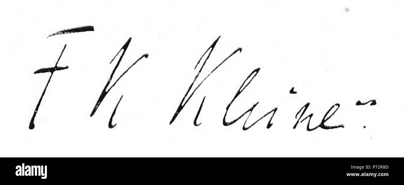 Deutsch: Unterschrift von Friedrich Karl Kleine . circa 1930 1 Friedrich Karl Kleine (Unterschrift) - Stock Image