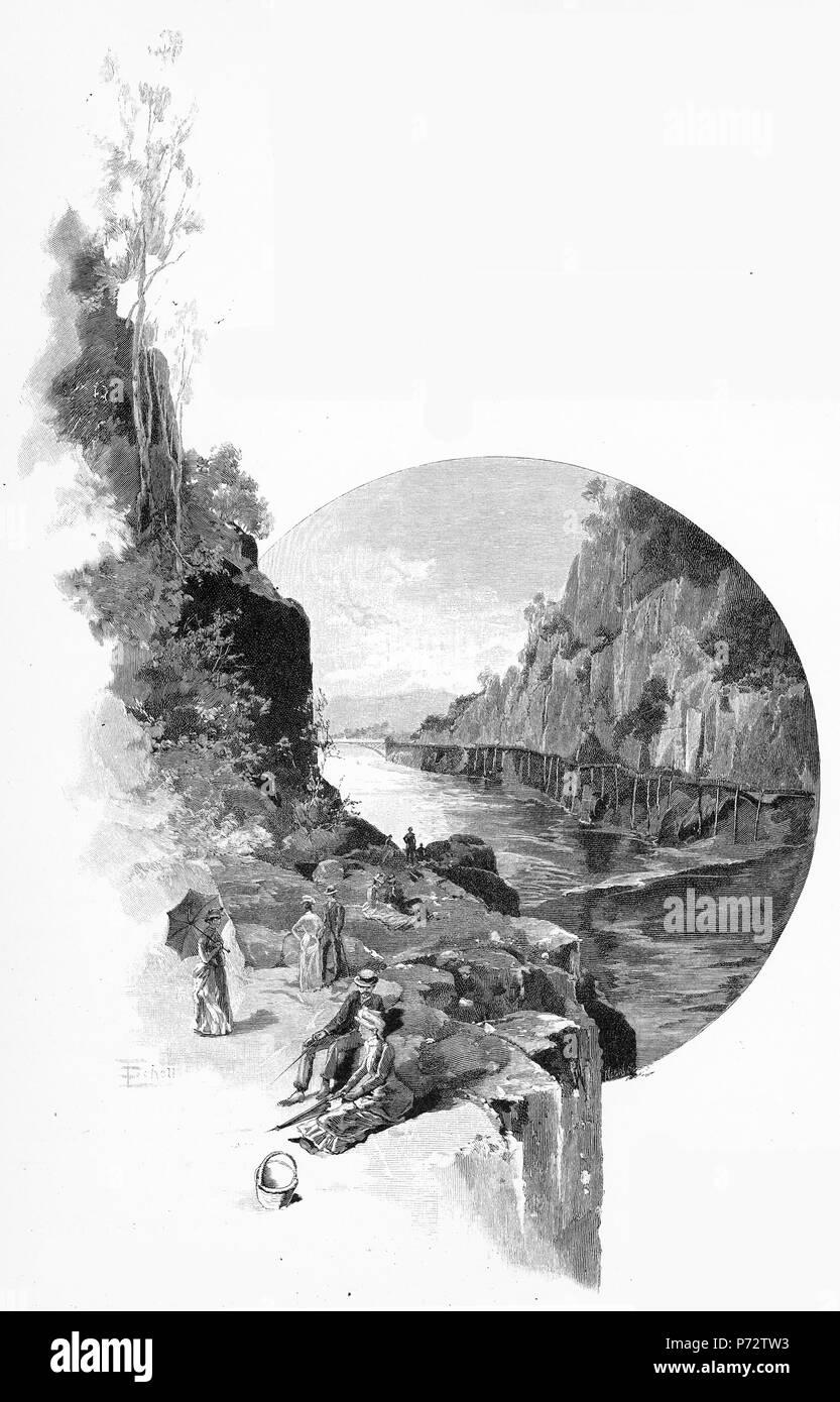 Engraving of Cataract Gorge, Tasmania, Australia, circa 1880. From the Picturesque Atlas of Australasia Vol 2, 1886 Stock Photo