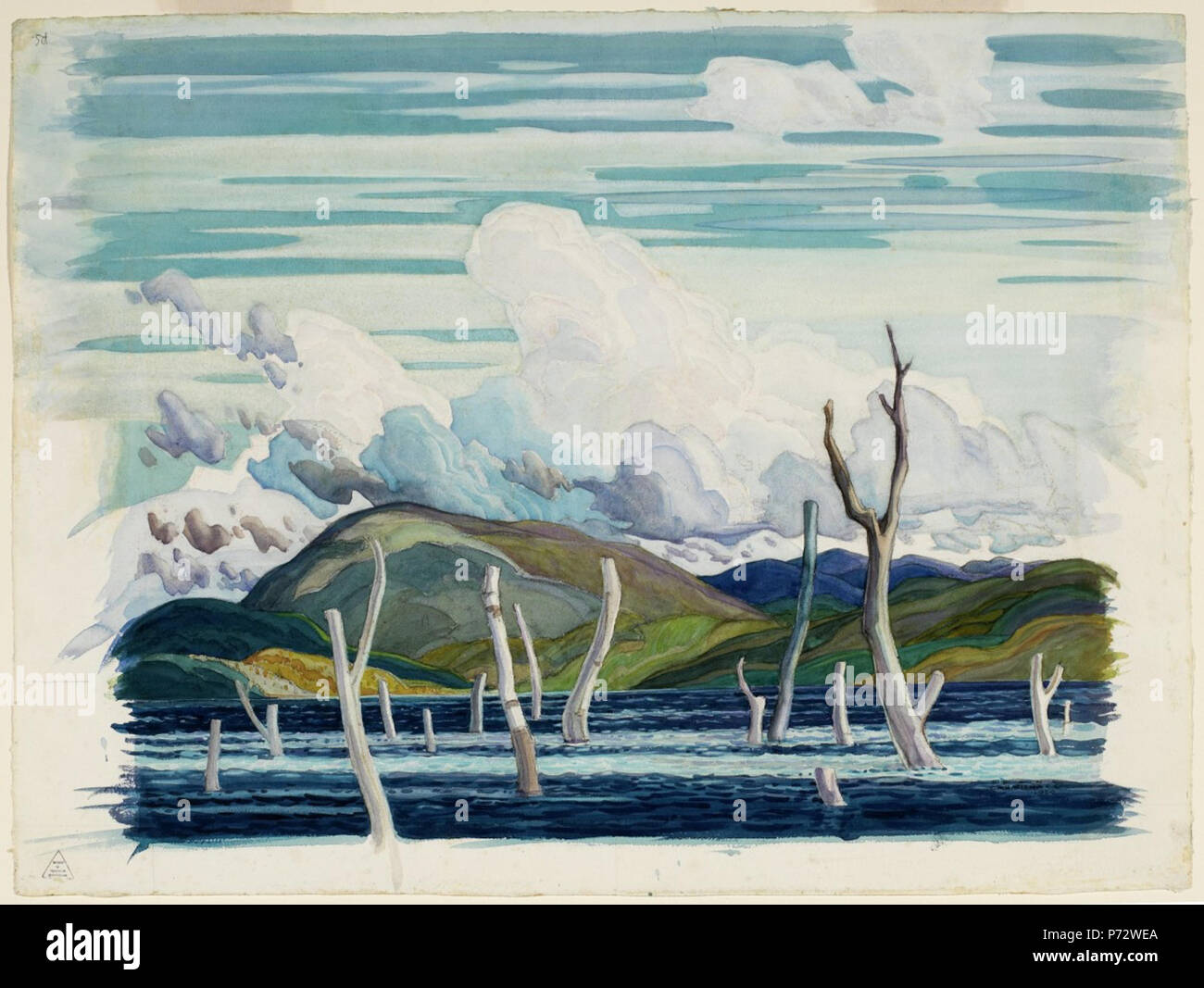 English: Franklin Carmichael, Wabajisik Drowned Land, 1929, watercolour and gouache over charcoal on wove paper, 51.8 x 69.8 cm . 5 April 2006, 14:05:32 3 Franklin Carmichael - Wabajisik Drowned Land Stock Photo