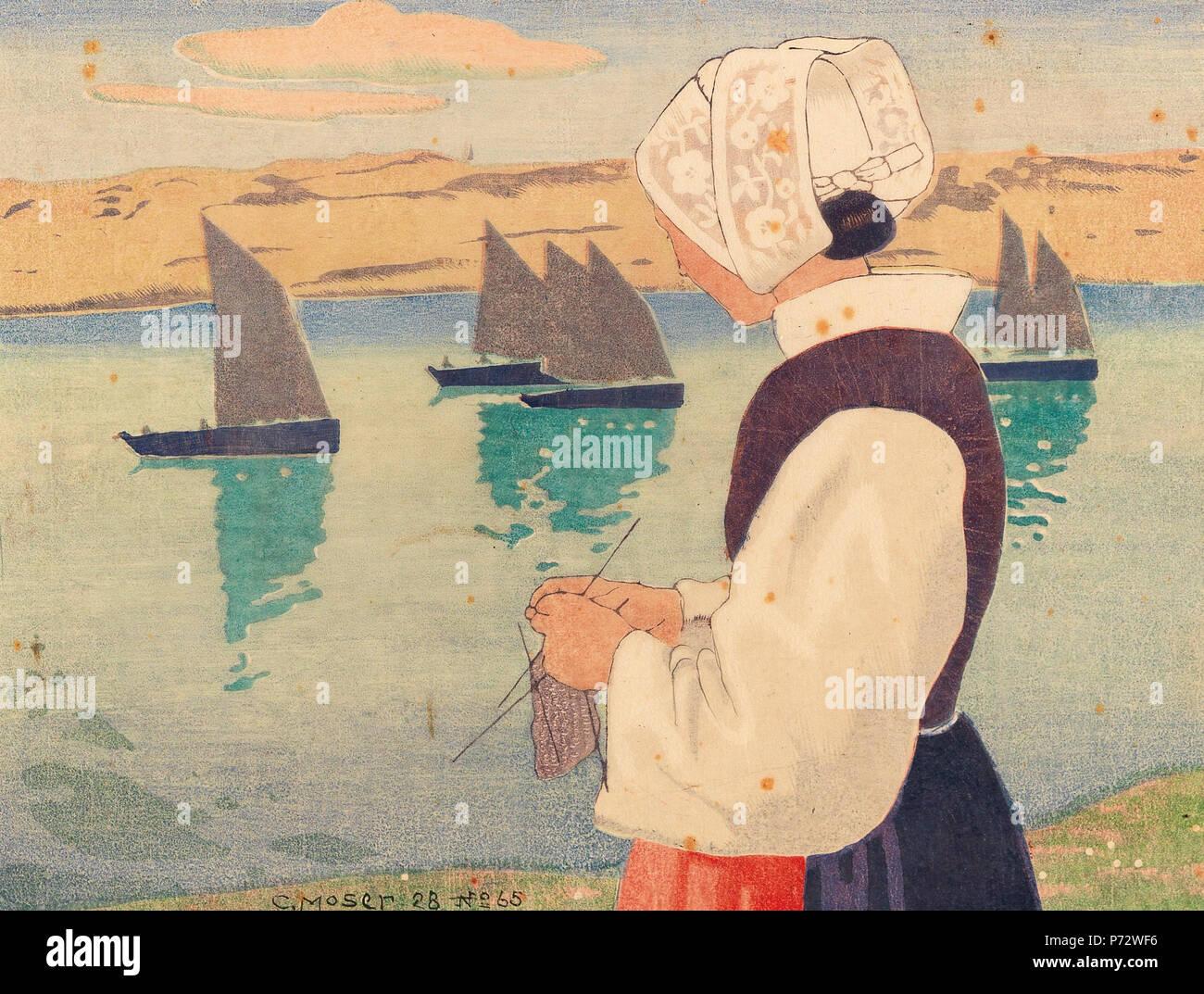 strickende bretonin deutsch holzschnitt in farbe auf hauchdnnem japan signiert und datiert - Muster Huser