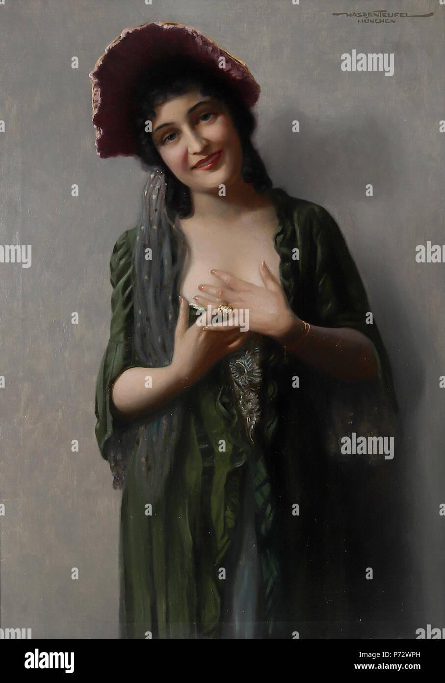 Deutsch: Verführung, signiert, bezeichnet Hassenteufel München, Öl auf Leinwand, 100 x 70 cm . before 1943 19 Hans Hassenteufel Versuchung Stock Photo