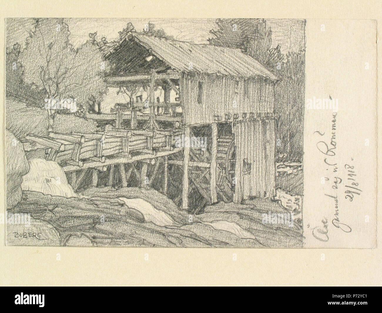 26 Jämtland, Åre sn. Gammal såg vid Römmeln . Teckning av Ferdinand Boberg - Nordiska museet - NMA.0088069 - Stock Image