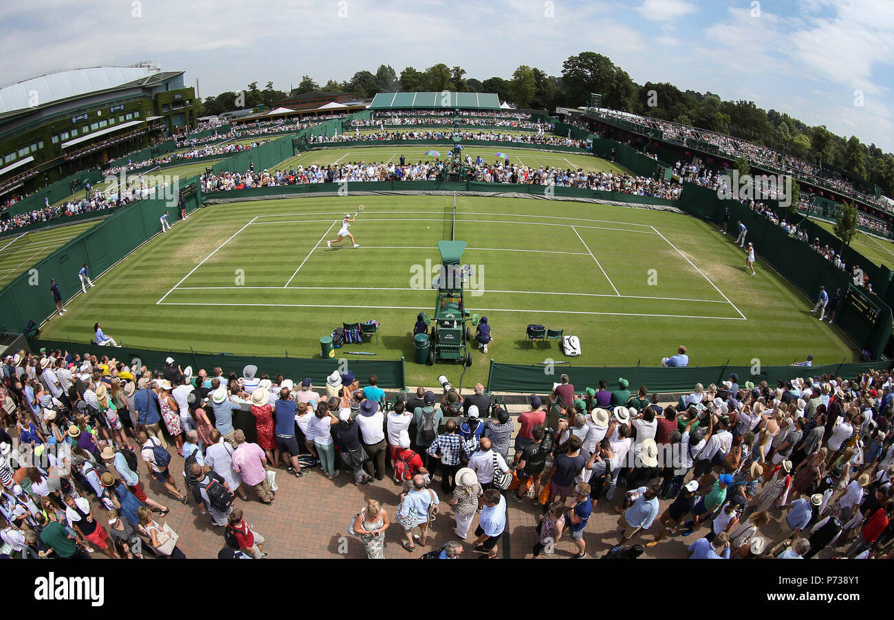 4th July 2018, All England Lawn Tennis and Croquet Club, London, England; The Wimbledon Tennis Championships, Day 3; General view of the Championship Courts Stock Photo