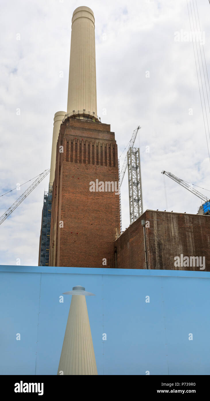 Battersea Power Station, London, 4th July 2018. Art Night photocall. Art Night and Hayward Gallery unveil South London based artist Suzanne Treister's new colourful, large-scale 80 metre outdoor mural wrapped around the hoardings at Battersea Power Station ahead of the one-night only festival 'Art Night 2018' on Saturday 7 July. k, Vauxhall and Nine Elms. Credit: Imageplotter News and Sports/Alamy Live News Stock Photo