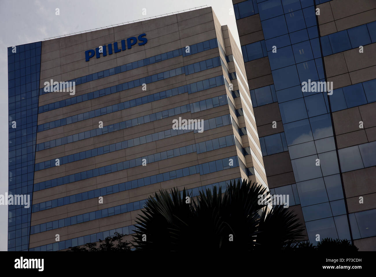 A view of the Phillips headquarters where, according to G1, some arrests are takng place, in Sao Paulo, Brazil, 04 July 2018. The Brazilian Polie dismantled a cartel that operated with over 30 companies through fraud in public tenders to provide medical devices and supplies in Brazil. EFE/Marcelo Chello - Stock Image