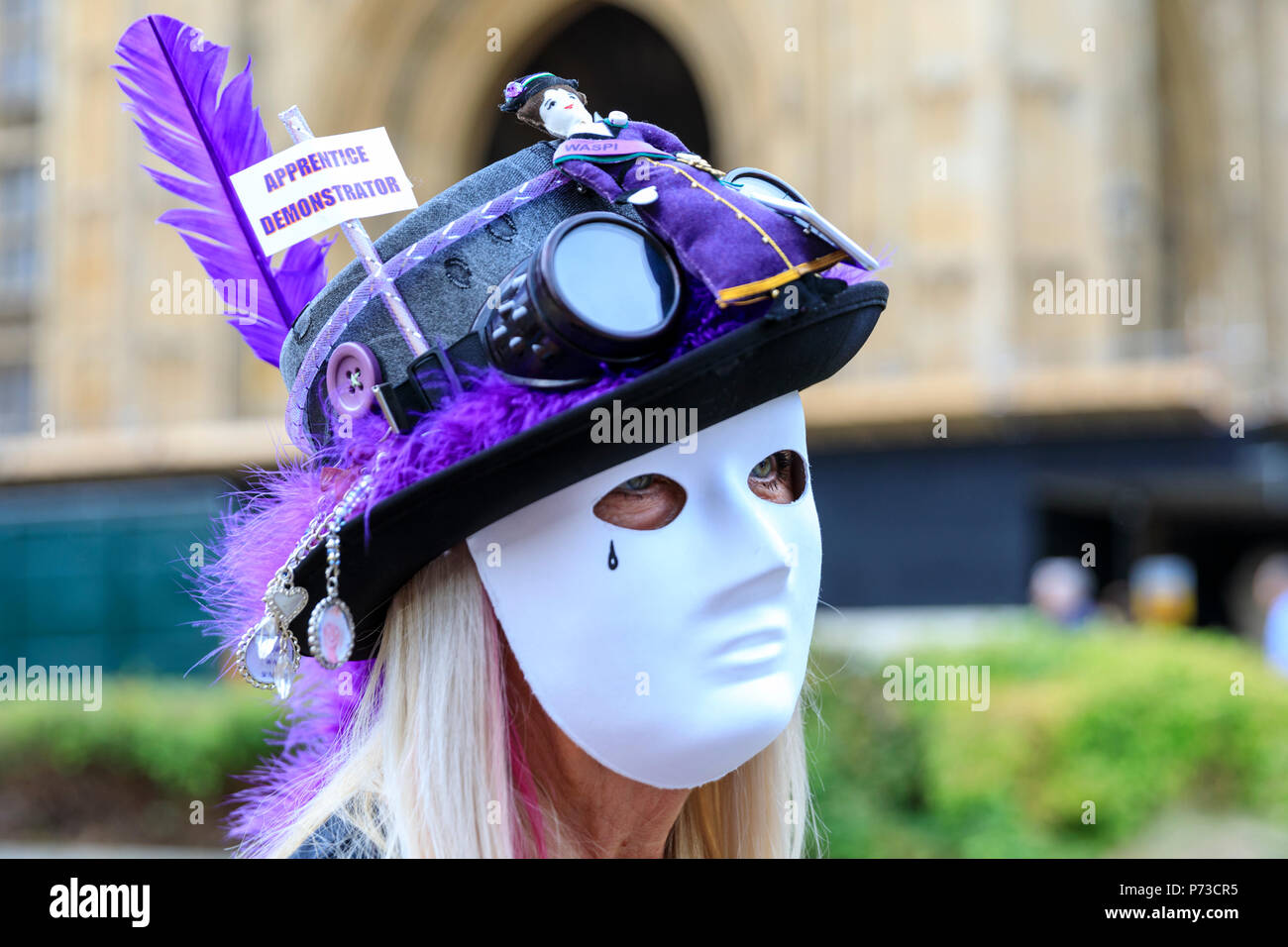 Westminster, London, 4th July 2018. WASPI, Women Against State Pension Inequality have organised a protest highlighting the issues around 3.8m women, mostly born in the 1950, will not receive their state pension aged 60. The Campaign aims to reach a transitional agreement for these women. Credit: Imageplotter News and Sports/Alamy Live News - Stock Image