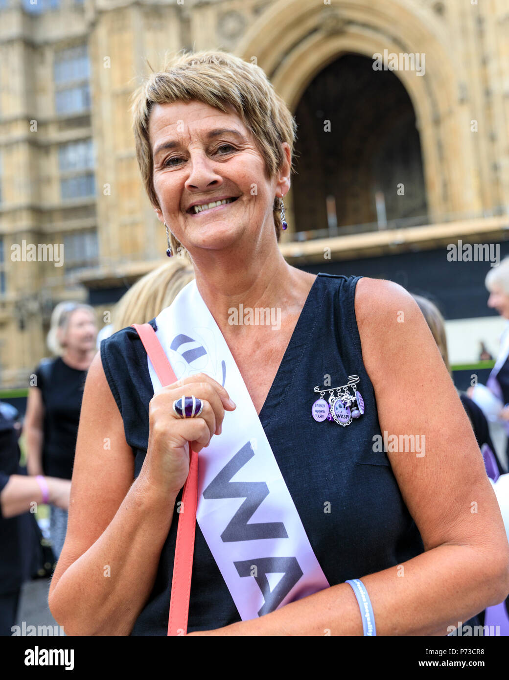 Westminster, London, 4th July 2018. Co-founder of WASPI, Anne Keen. WASPI, Women Against State Pension Inequality have organised a protest highlighting the issues around 3.8m women, mostly born in the 1950, will not receive their state pension aged 60. The Campaign aims to reach a transitional agreement for these women. Credit: Imageplotter News and Sports/Alamy Live News - Stock Image