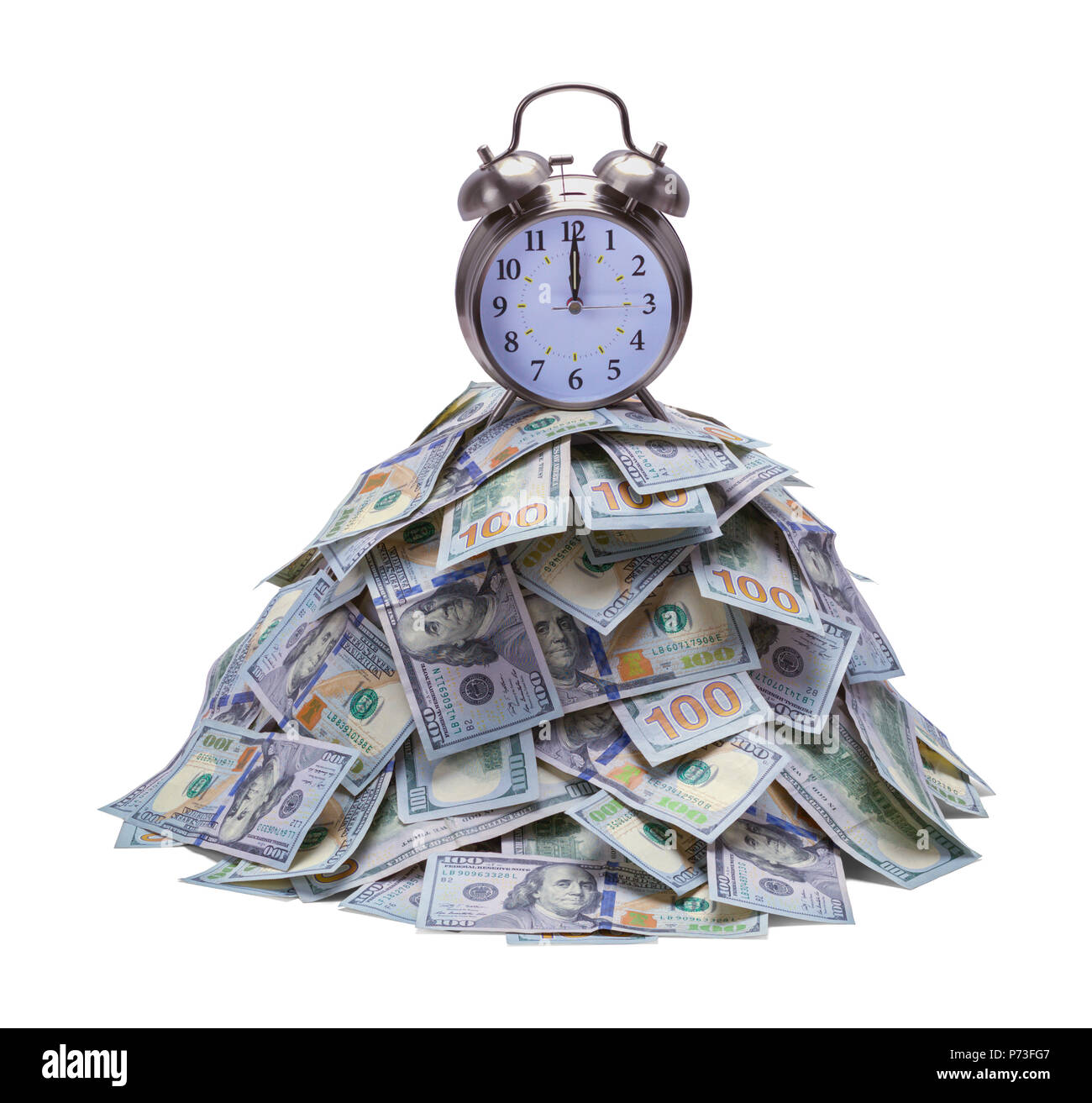 Pile of Money with Alarm Clock on Top Isolated on White Background. - Stock Image