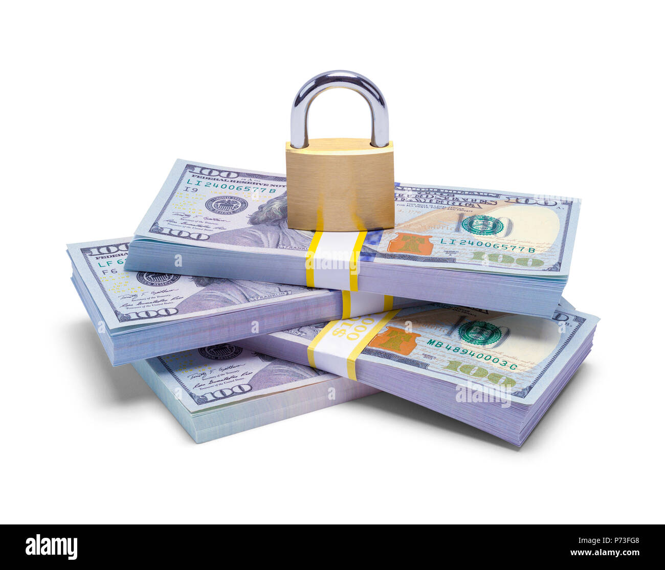 Stack of Money with Pad Lock Isolated on a White Background. - Stock Image