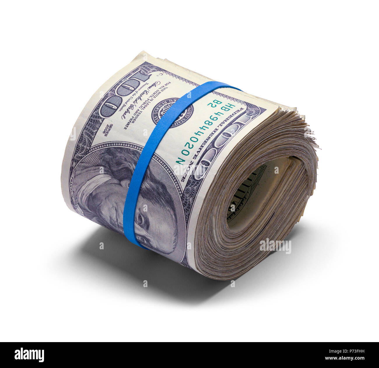Roll of Hundreds of Dollars Isolated on White. - Stock Image