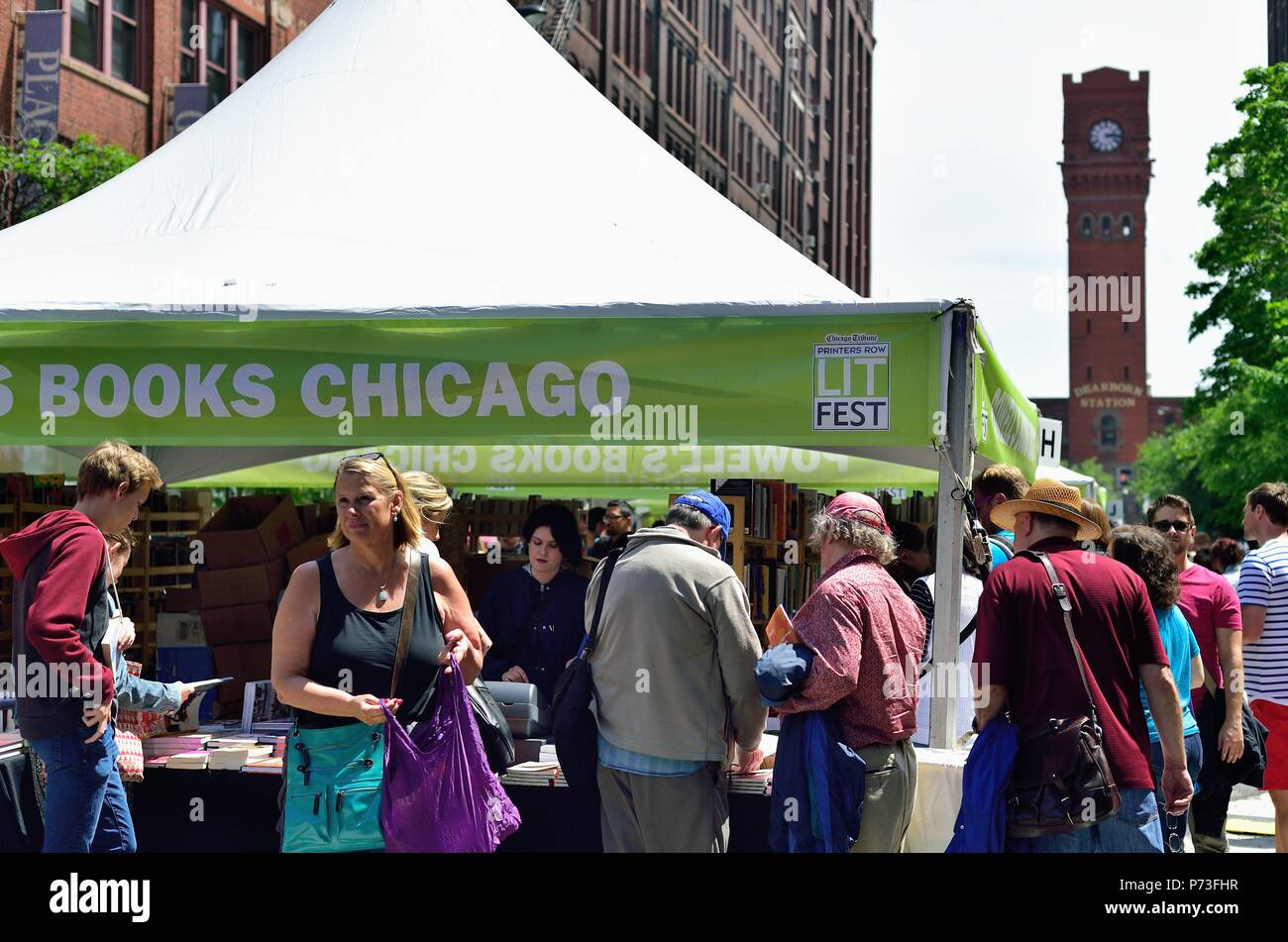 Chicago, Illinois, USA. People mingle among the stalls at the annual Printers Row Lit Fest (formerly Printers Row Book Fair). - Stock Image