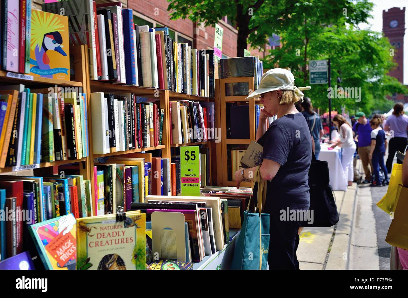 Chicago, Illinois, USA. Woman ponders a potential purchase at the annual Printers Row Lit Fest (formerly Printers Row Book Fair). The large street fes - Stock Image