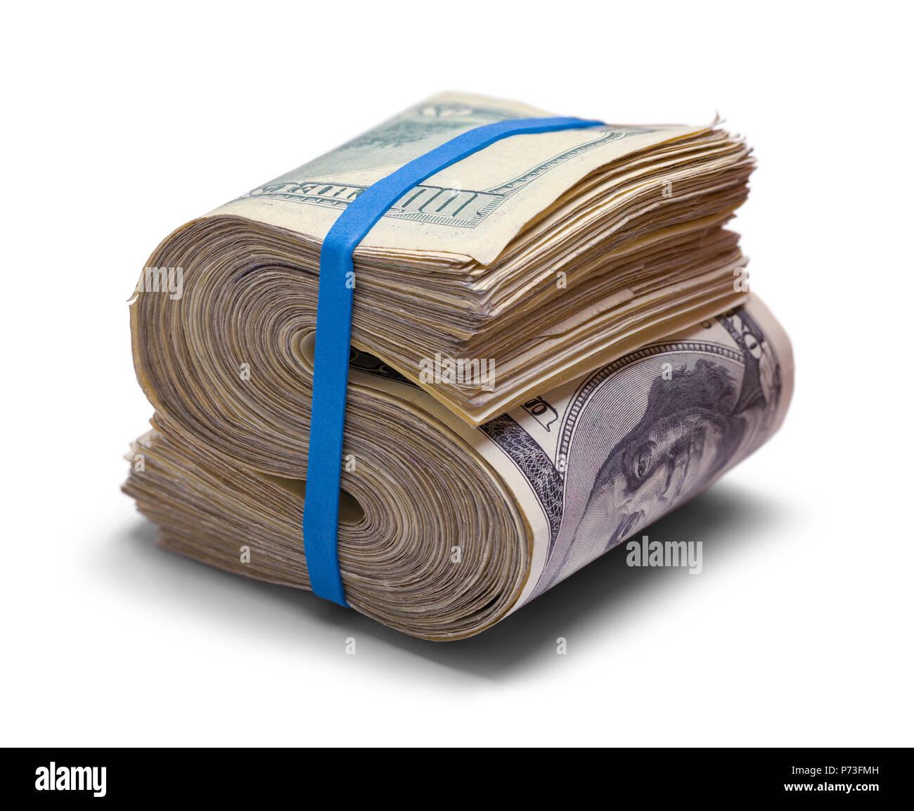 Money Wad in Cash Symbol Isolated on  White. - Stock Image