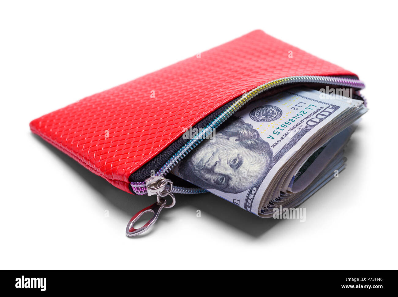 Red Wallet Full of Money Isolated on a White Background. - Stock Image