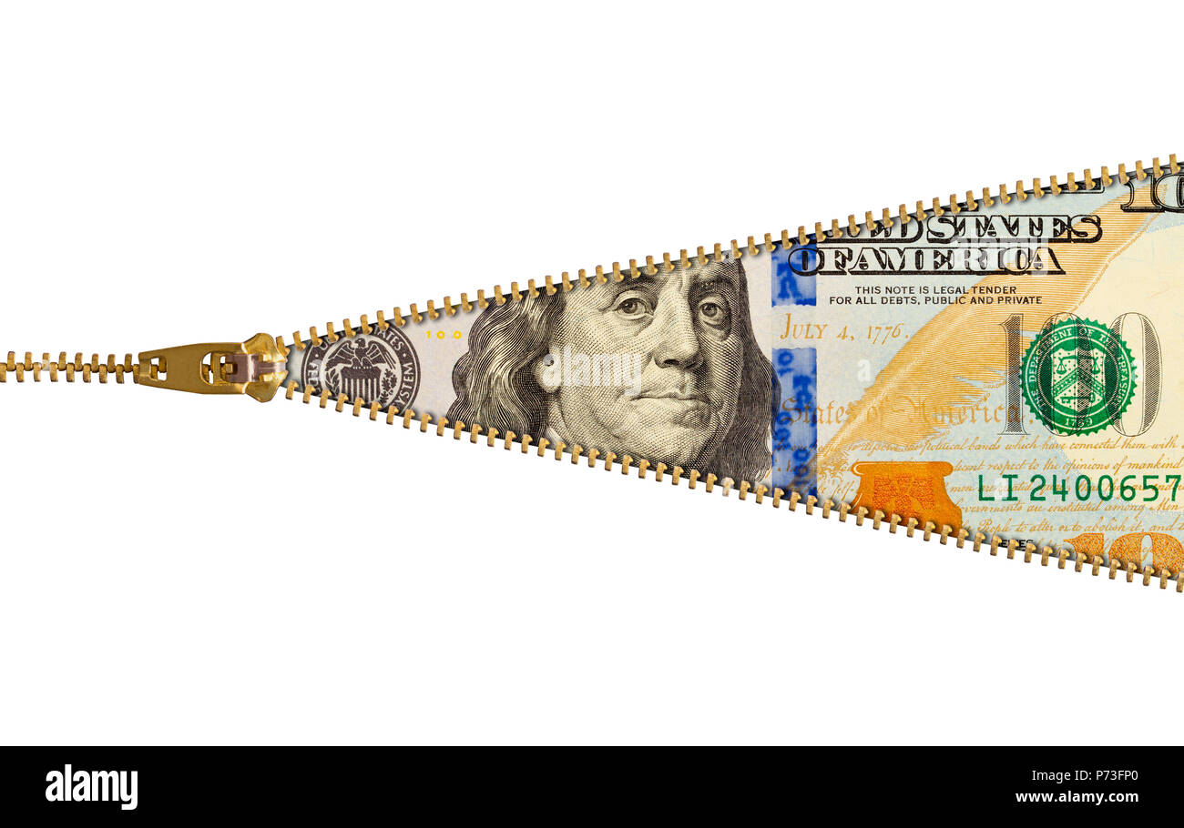 Hundred Dollar Bill With Zipper Isolated on White. - Stock Image
