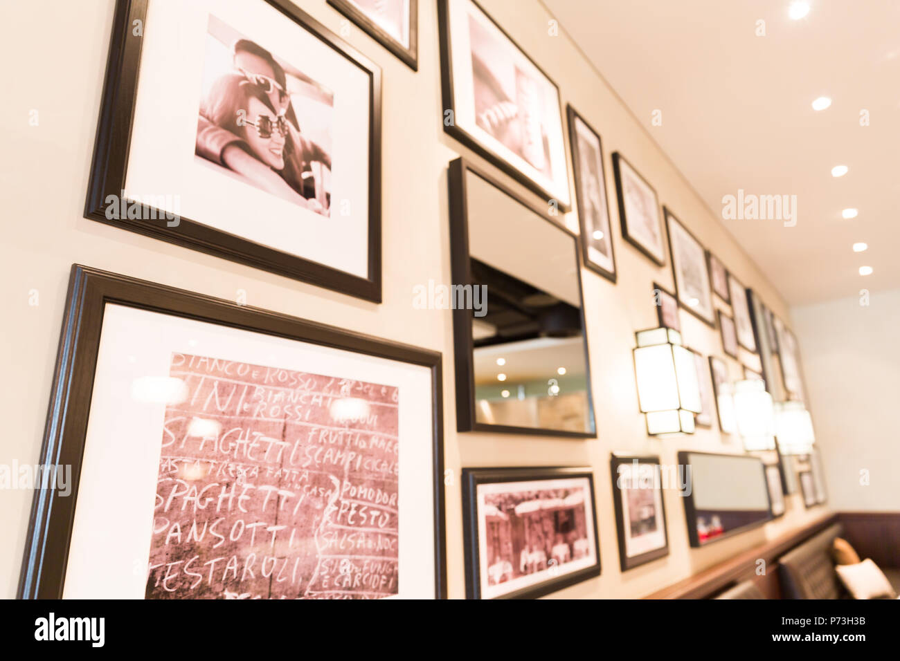 Cafe Restaurant Framed Photo Wall Decoration - Stock Image