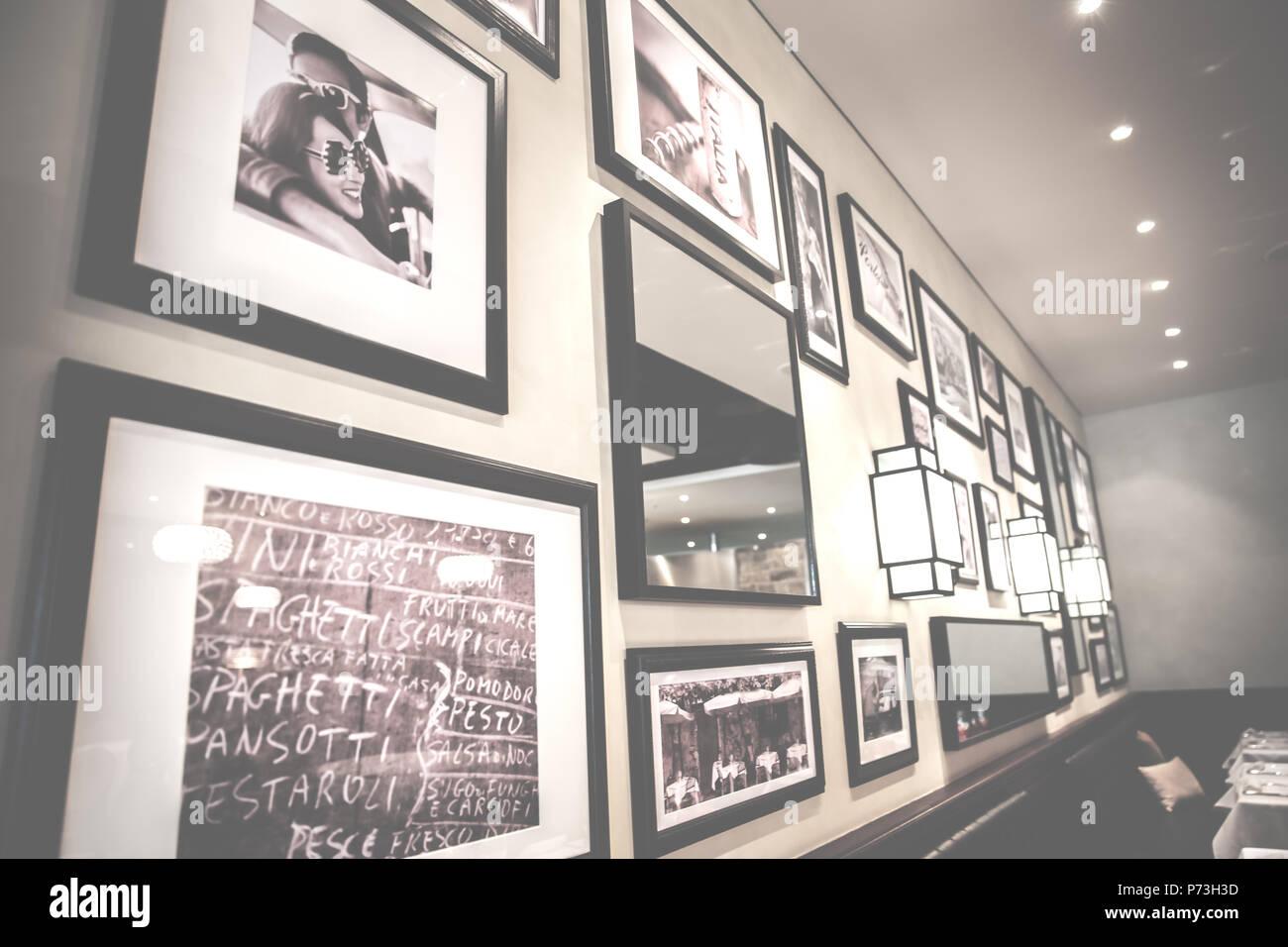 Cafe Restaurant Framed Photo Wall Decoration - Stock Image