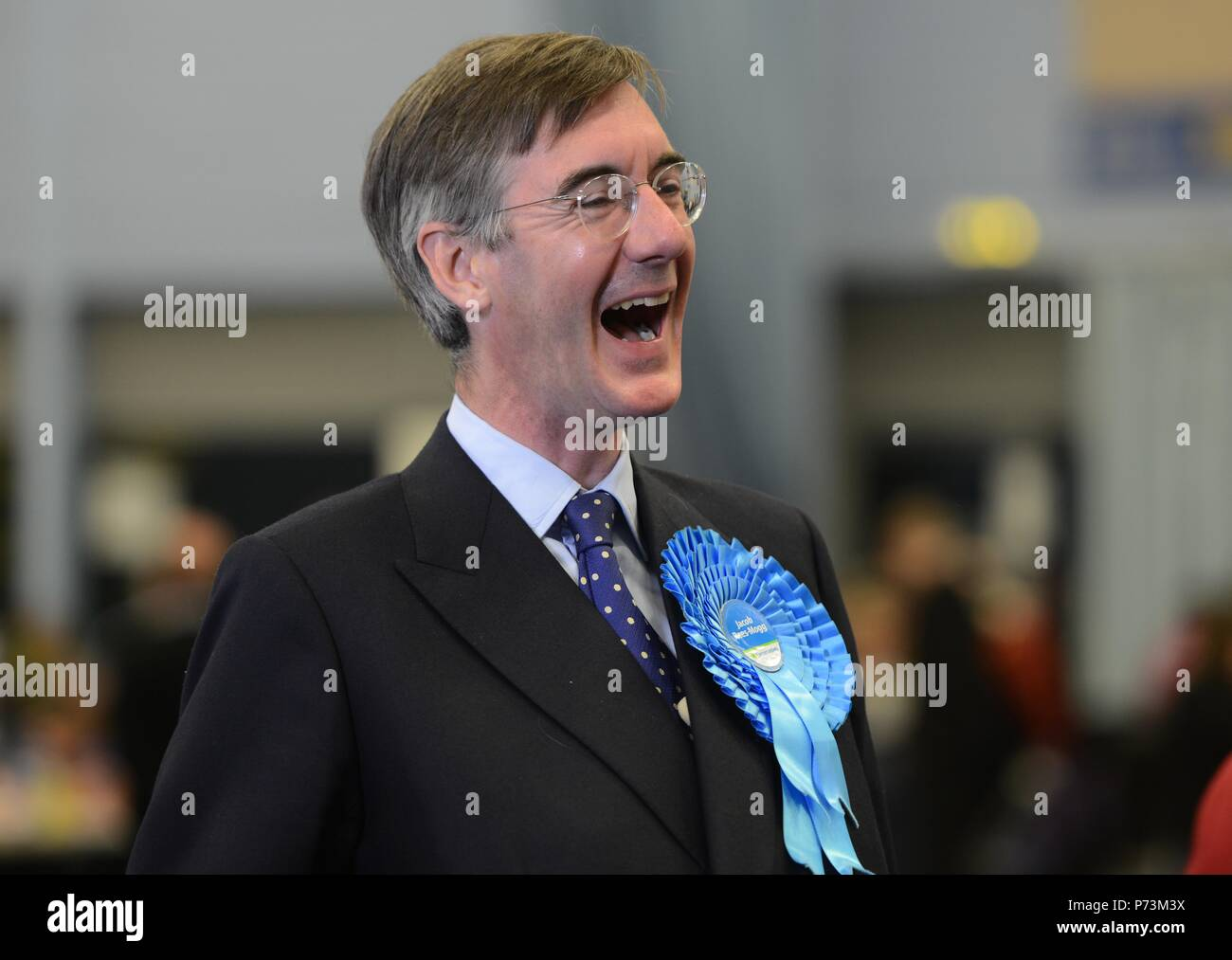Election night with Jacob Rees Mogg standing for North East Somerset - Stock Image