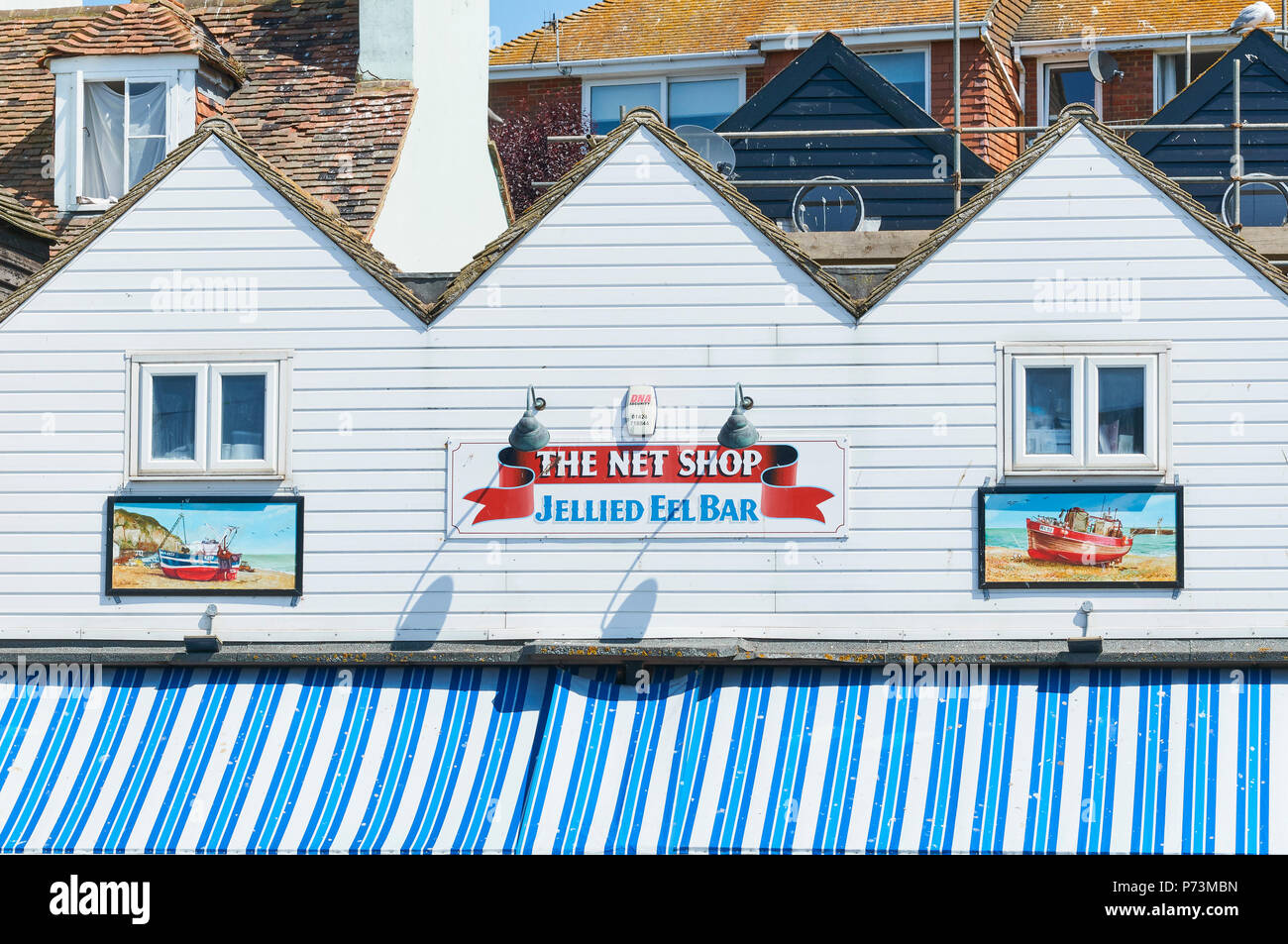 The Net Shop jellied eel bar in Hastings Old Town, on the Sussex coast, Great Britain - Stock Image