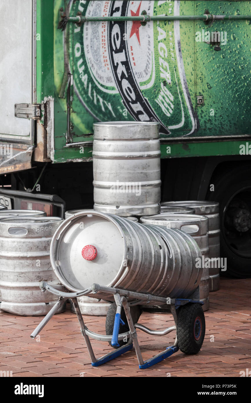 Beer barrels being delivered to pubs. A shortage of carbon dioxide (July 2018) could effect the supply of some food products as well as beer/lager - Stock Image