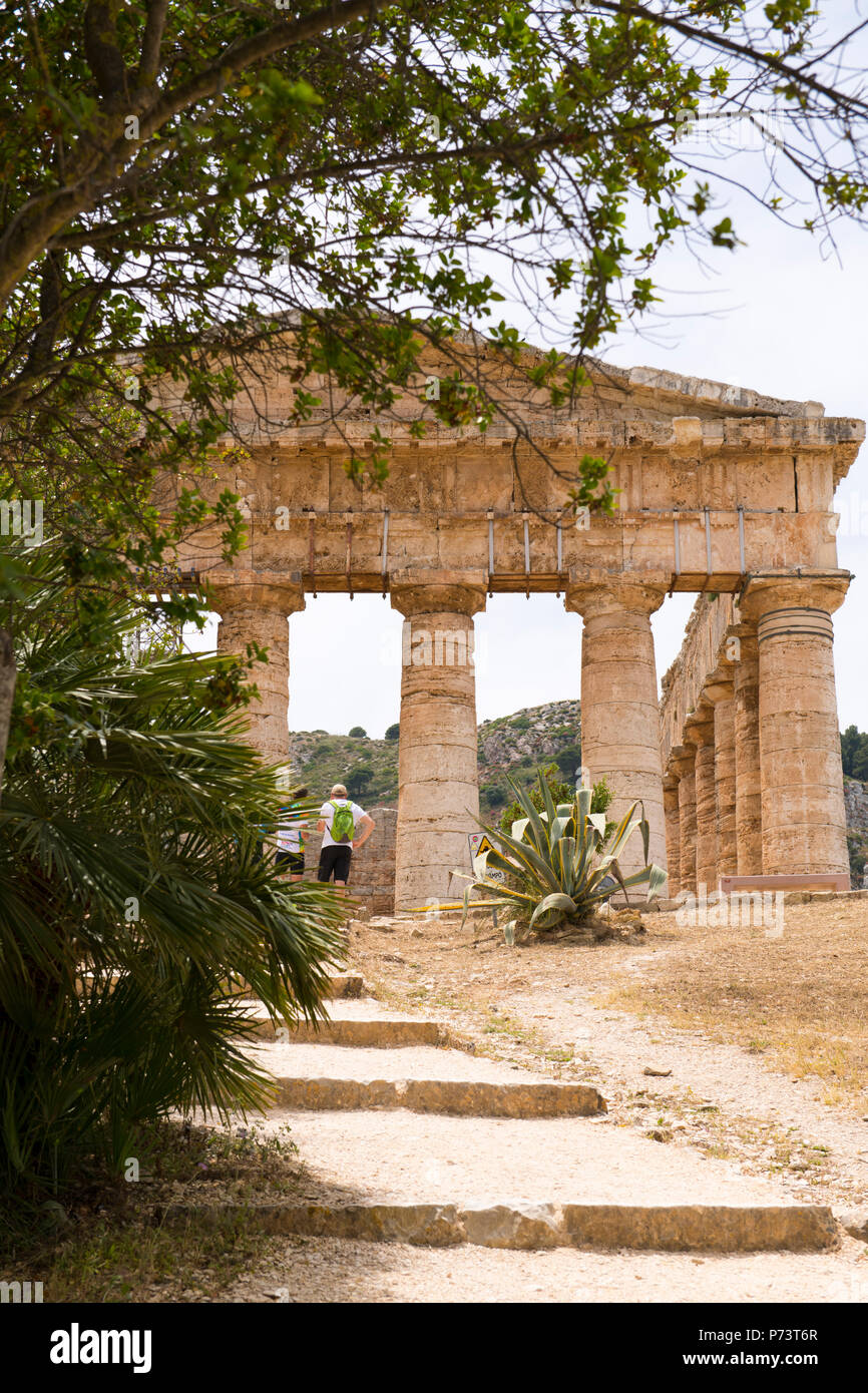 Italy Sicily Segesta ancient Elymian & Ionian Greek Doric temple built 5th century BC 420s BC never finished - Stock Image