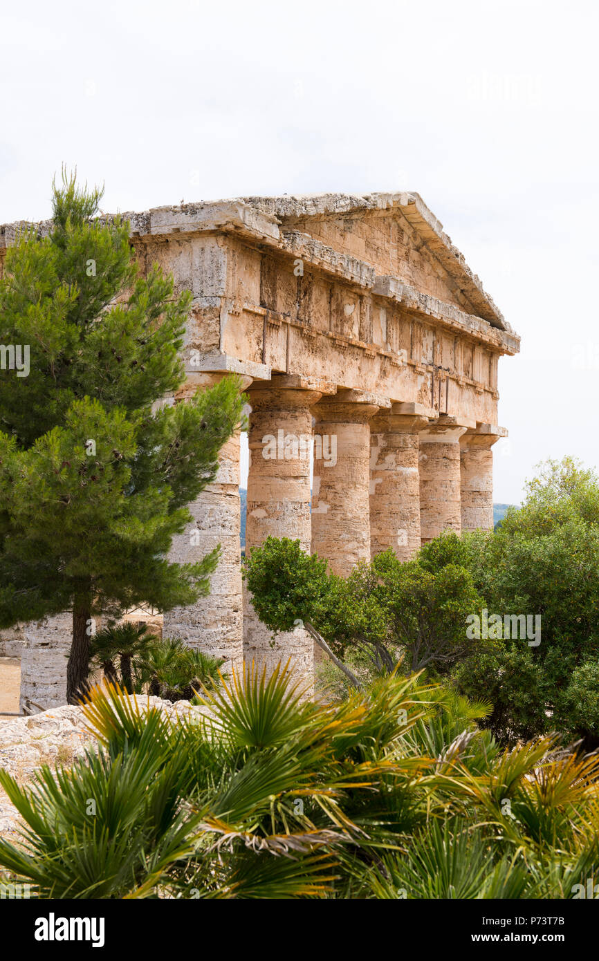 Italy Sicily Segesta ancient Elymian & Ionian Greek Doric temple built 5th century BC 420s BC never finished trees - Stock Image