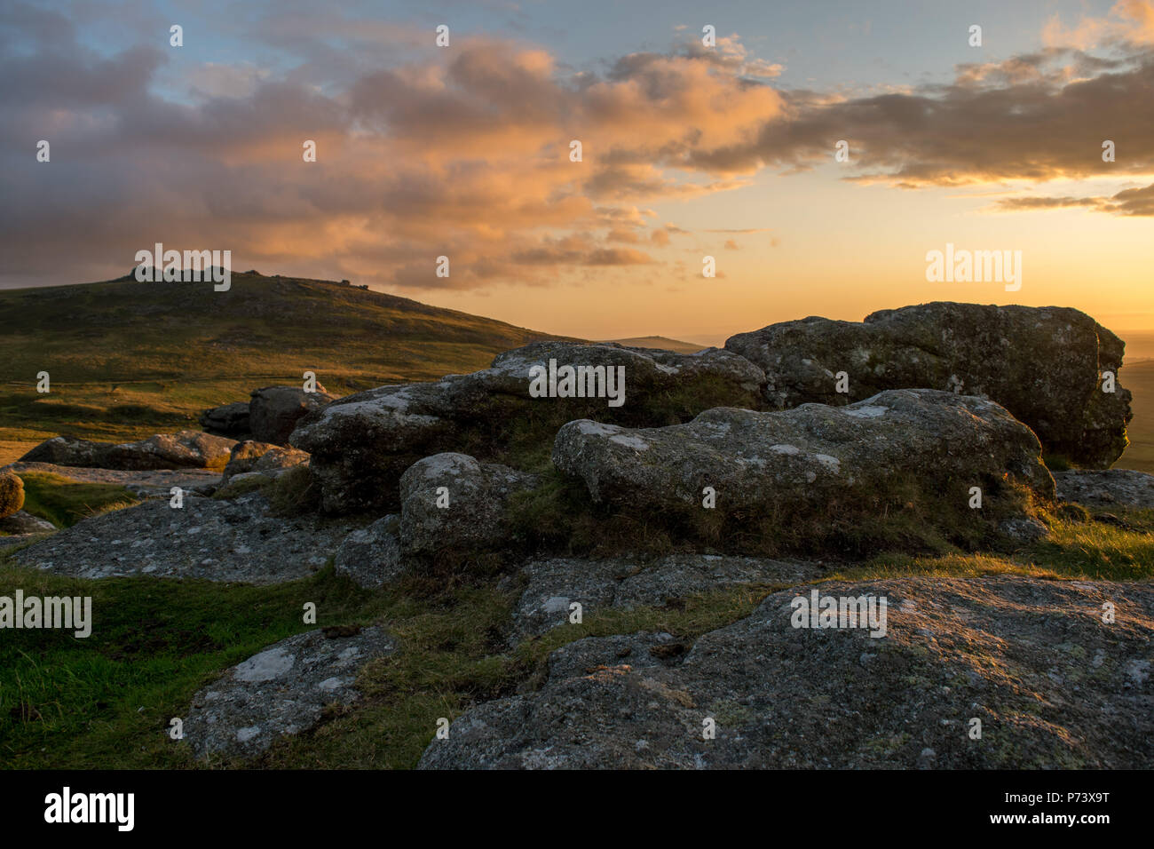 Late Summer on Dartmoor, with a glorious sunset and wonderful light - Stock Image