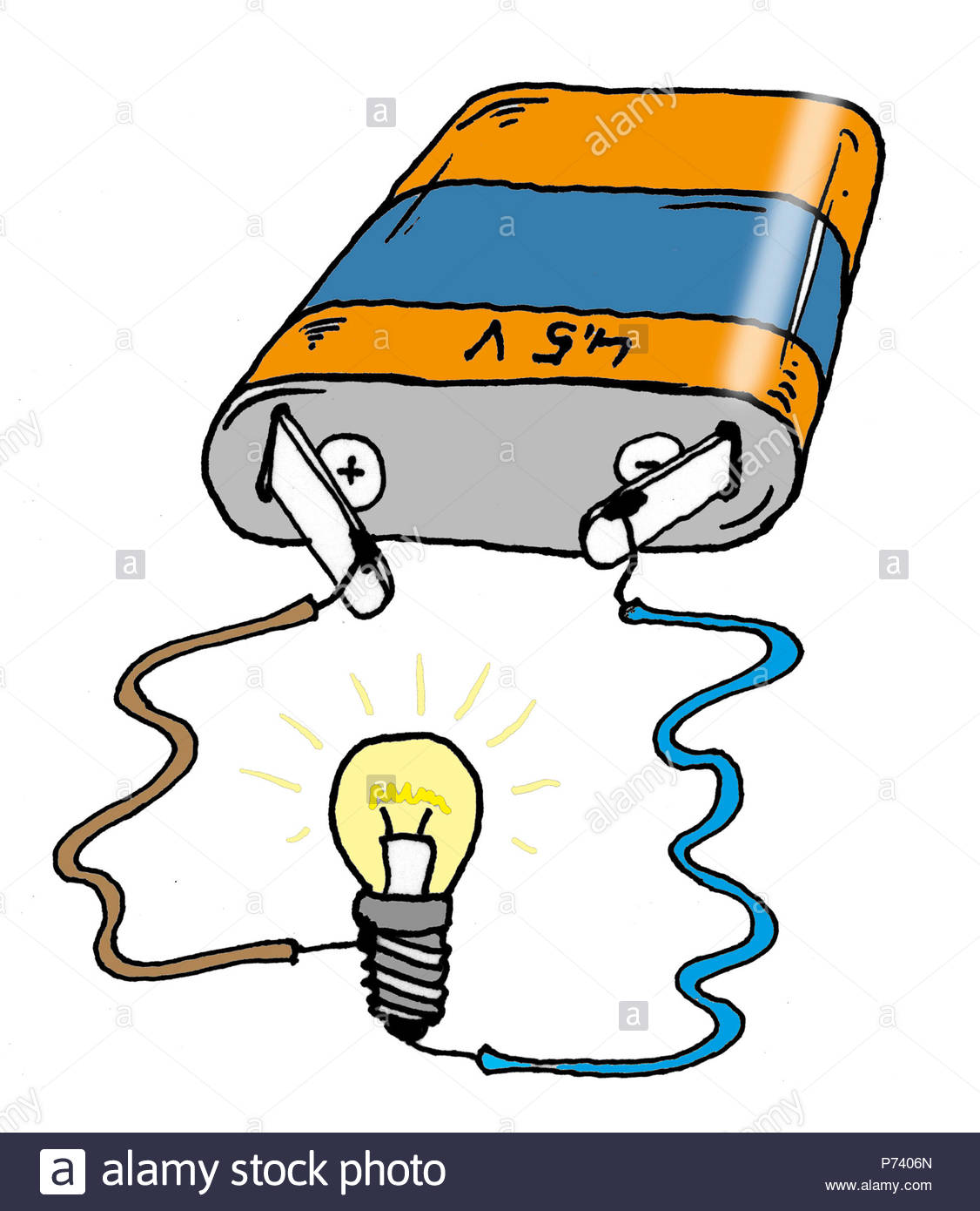 Battery Light Bulb Circuit Stock Photos In A Parallel With Each Lightbulb The Power And Series Electricity Image