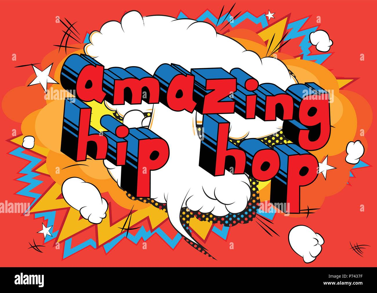 Amazing Hip Hop - Comic book word on abstract background. Stock Vector