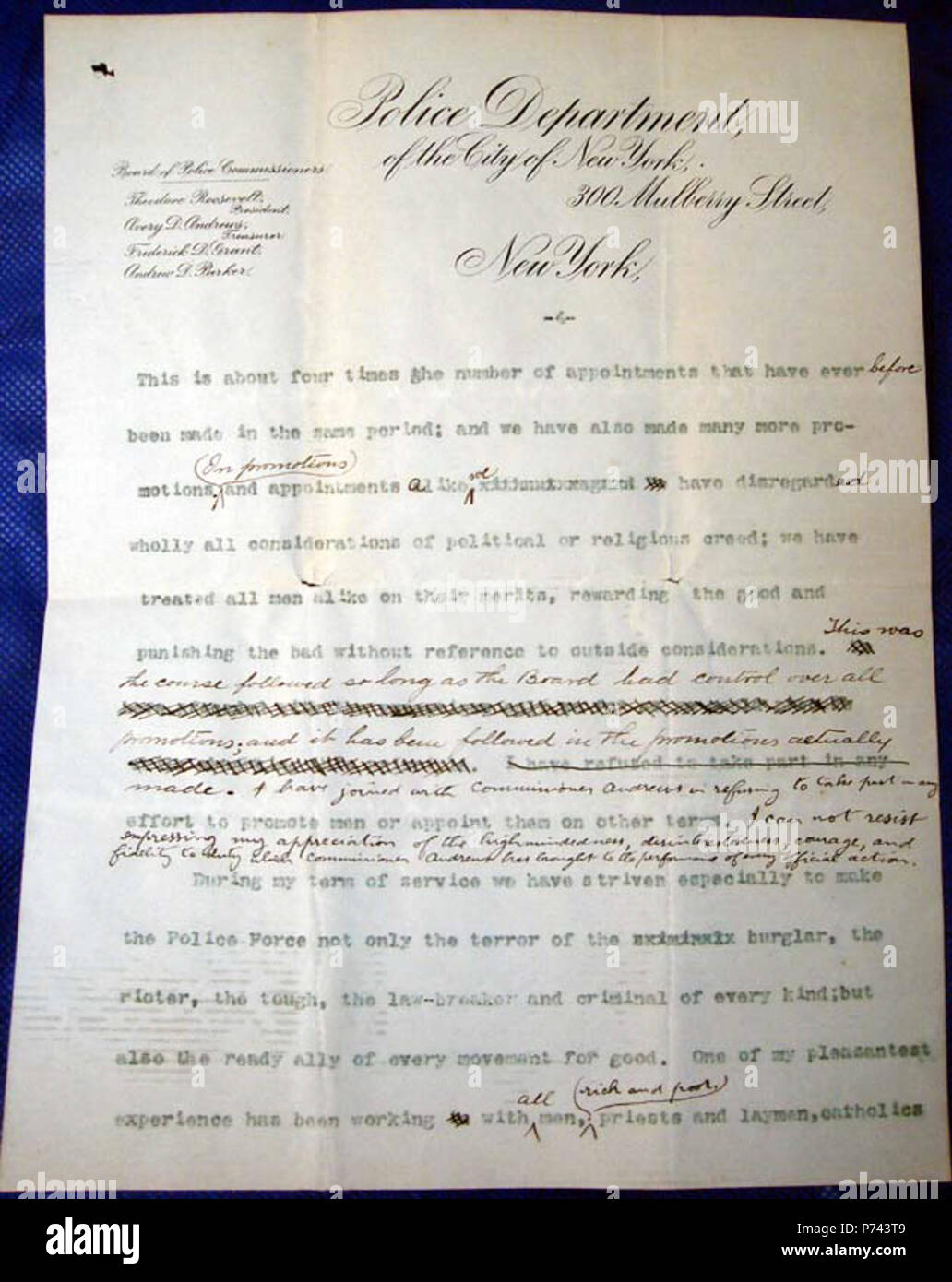 This Is Page Four Of Theodore Roosevelts Resignation Letter To The