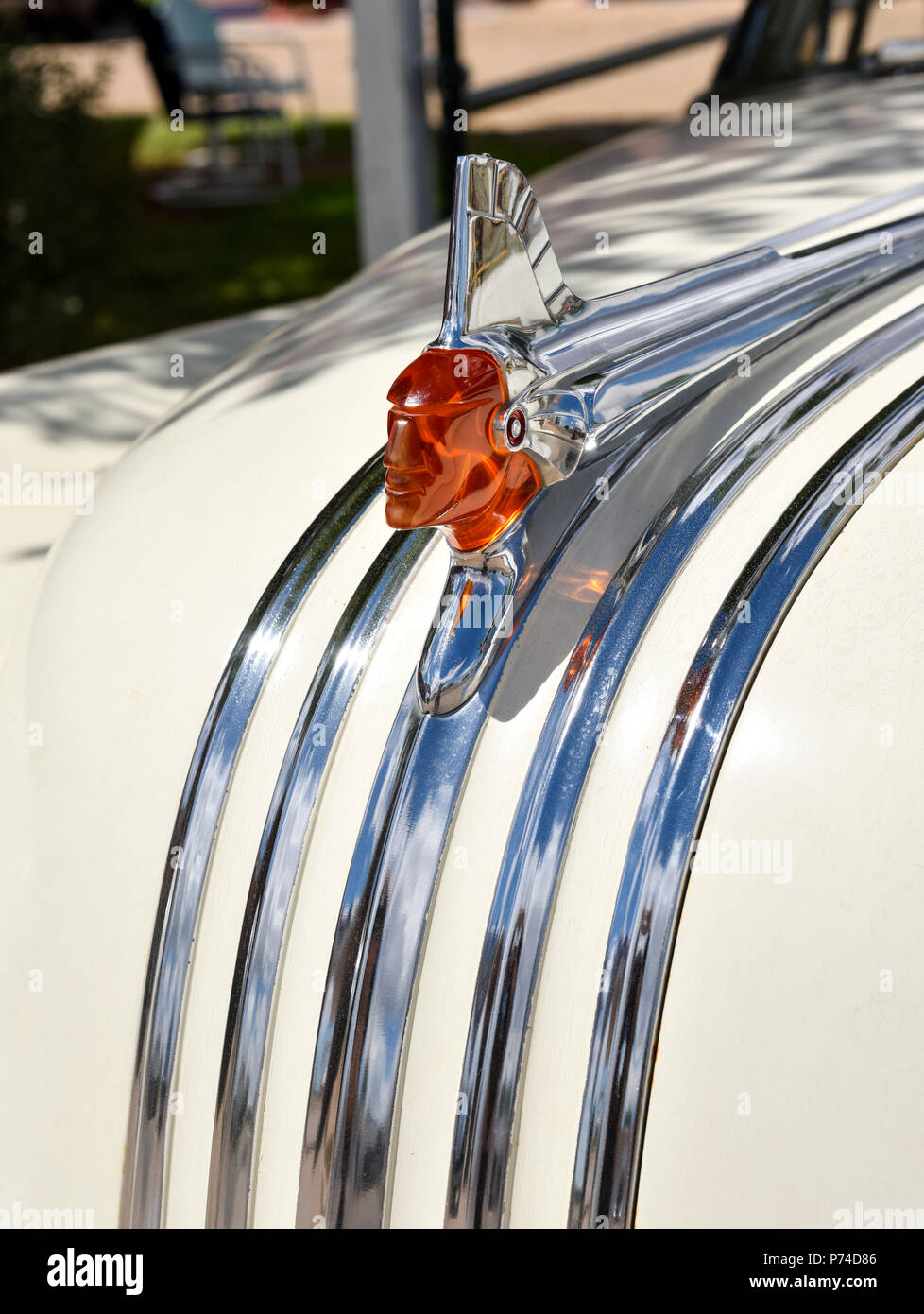 Pontiac Chieftain Eight hood ornament - Stock Image