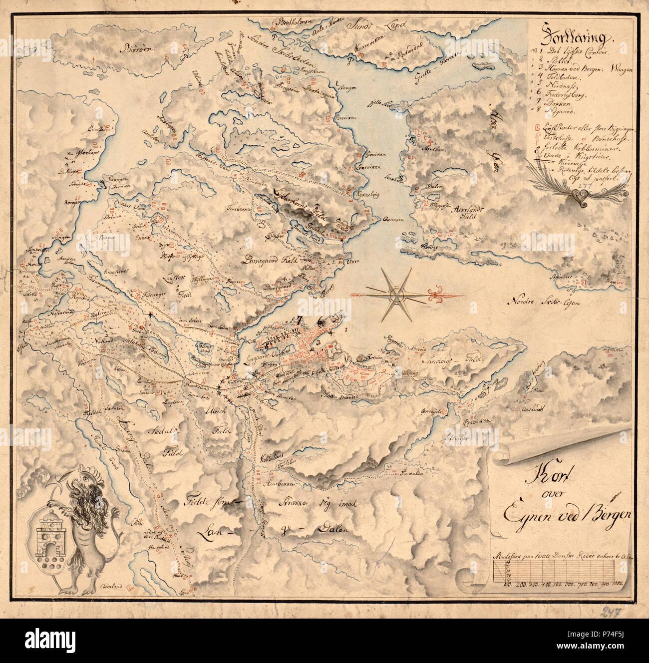 kart over bergen og omegn Håndtegkart over Bergen med omegn   Cartographer Ukjent. ca  kart over bergen og omegn