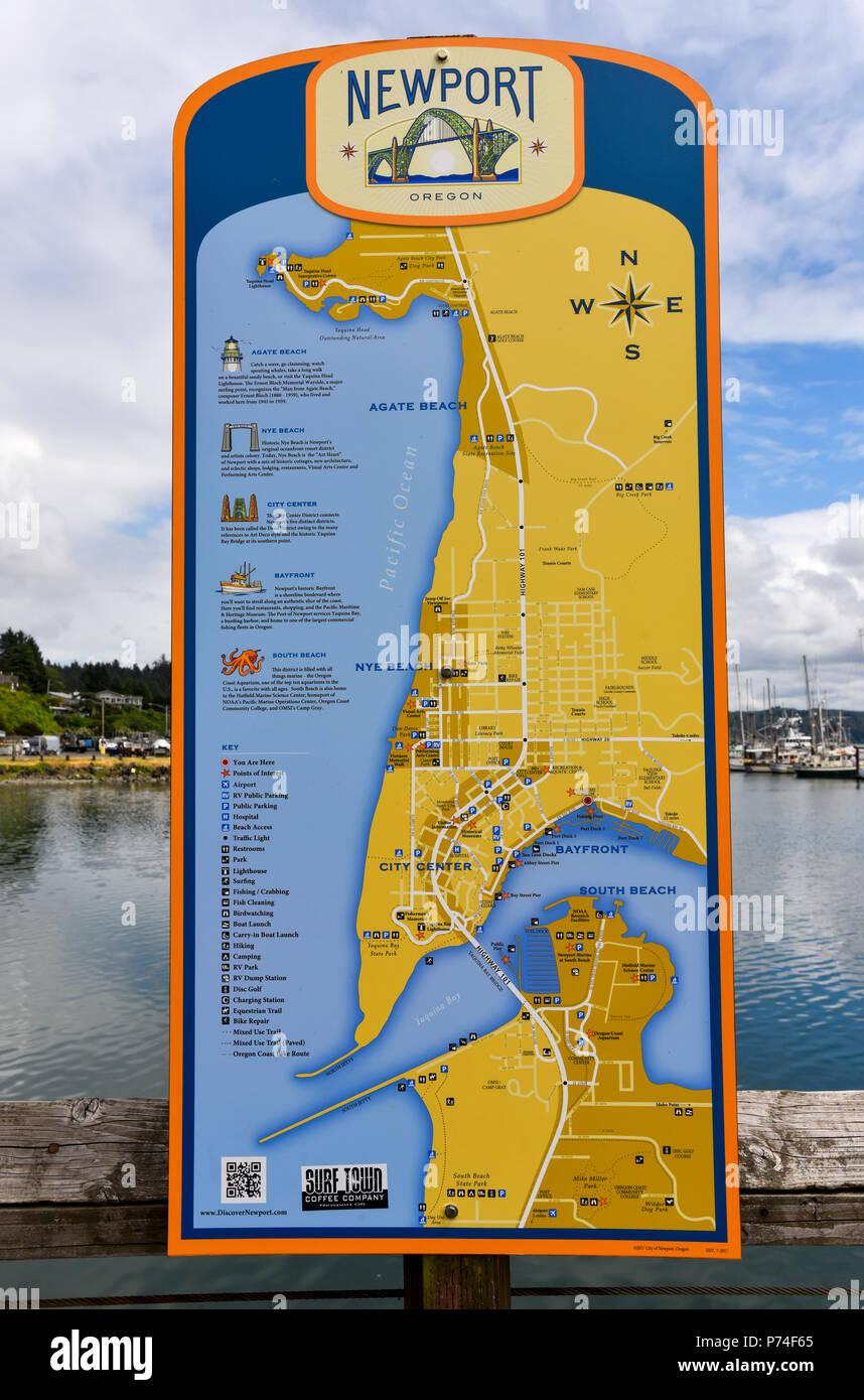 Port Of Newport Oregon Map Sign Stock Photo 210926749 Alamy