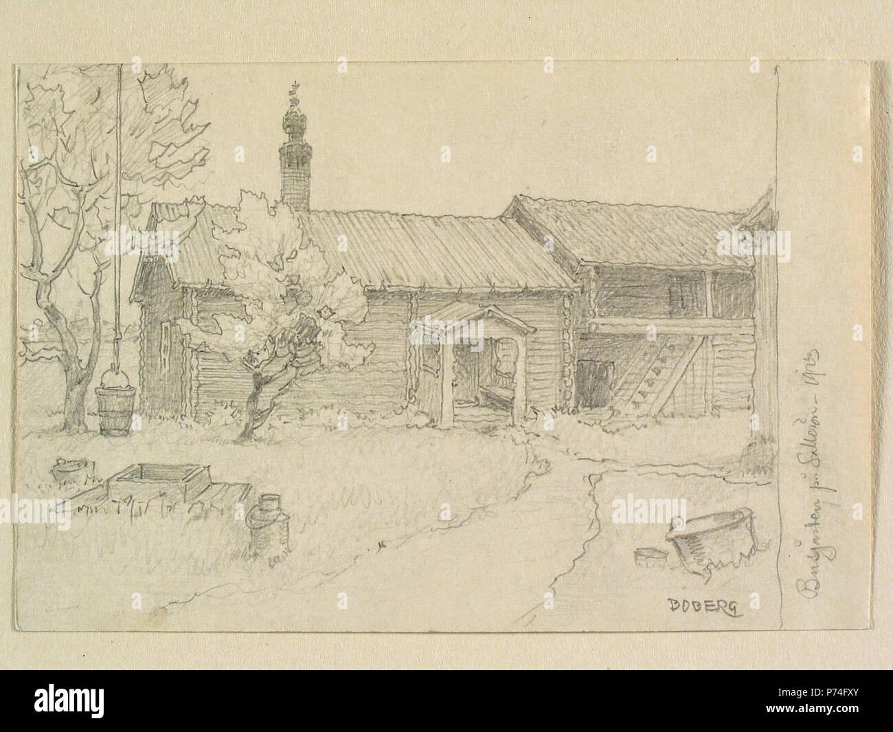 11 Dalarna, Solleröns sn., Sollerön, Busgården. Teckning av Ferdinand Boberg - Nordiska museet - NMA.0088172 Stock Photo