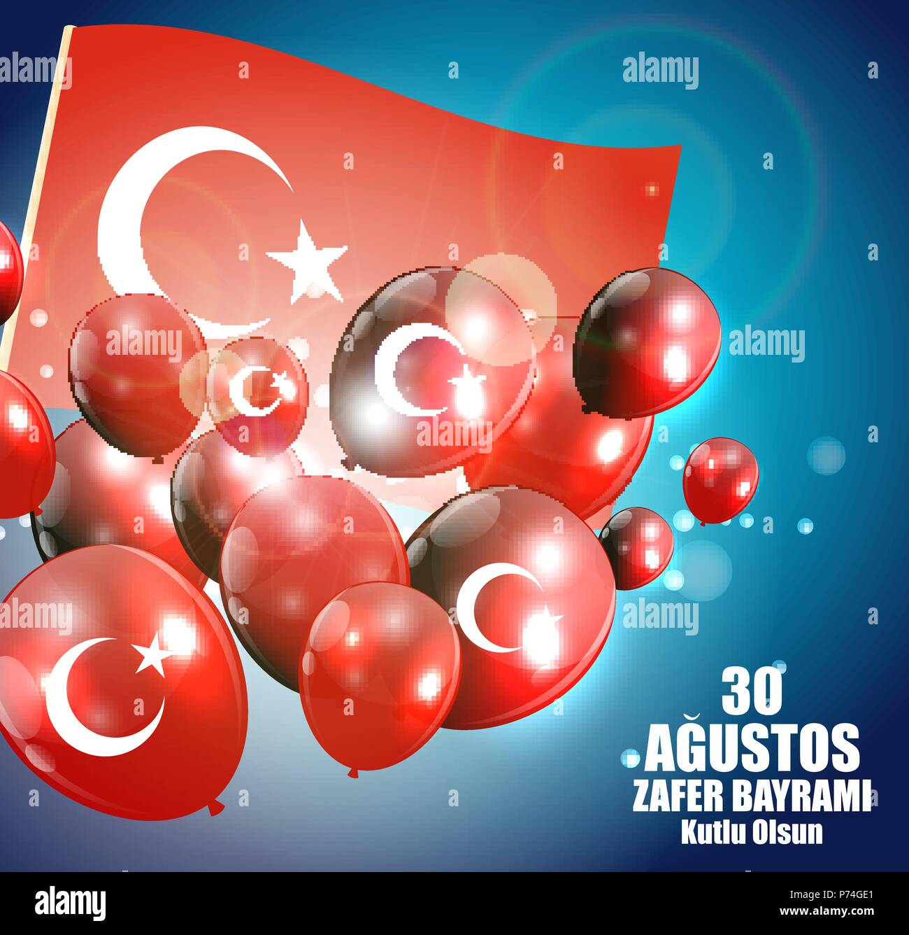 August 30, Victory Day (Turkish Speak: 0 Agustos, Zafer Bayrami Kutlu Olsun). Vector Illustration - Stock Vector