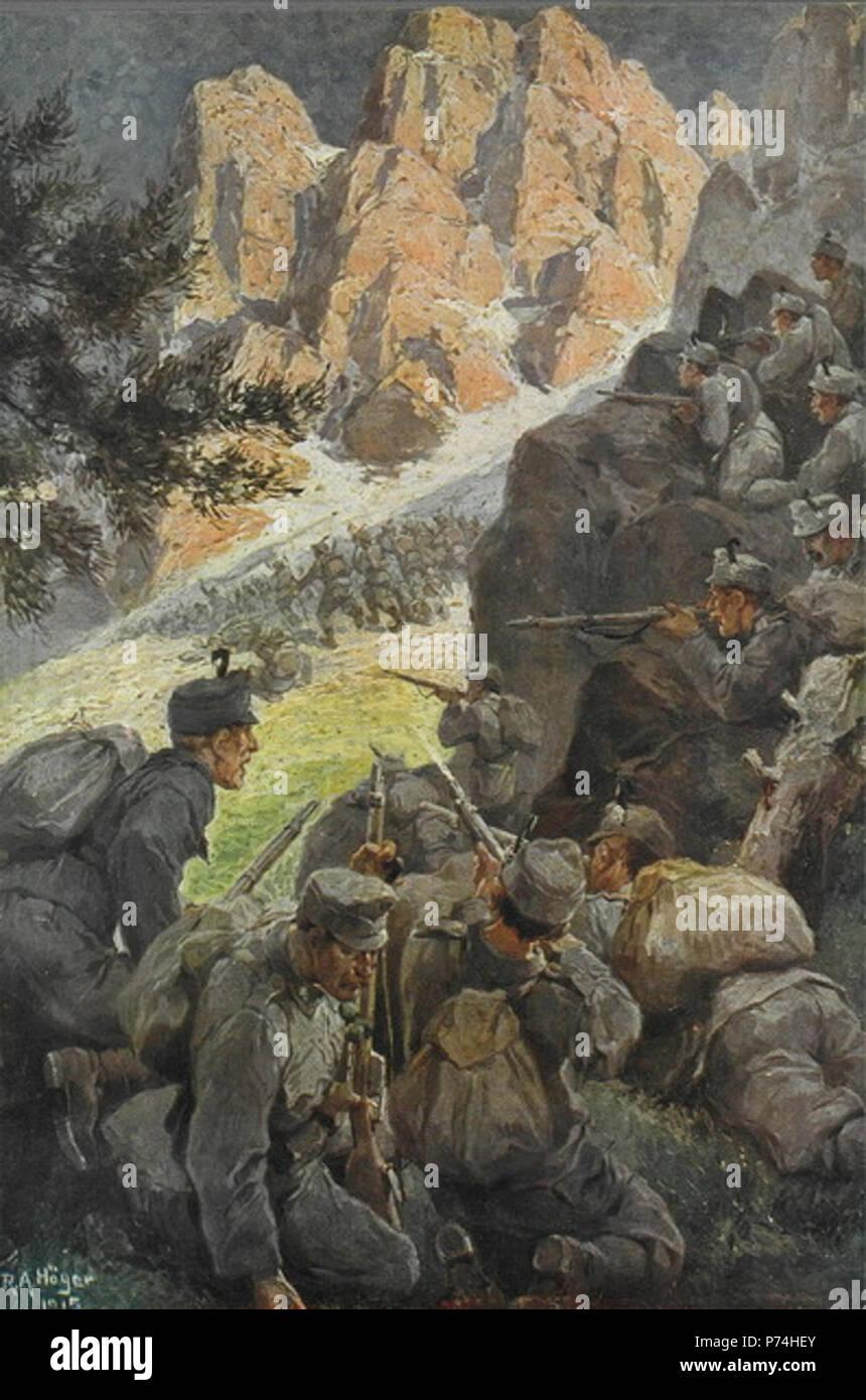 150 Kaiserschützen im Gefecht - Stock Image
